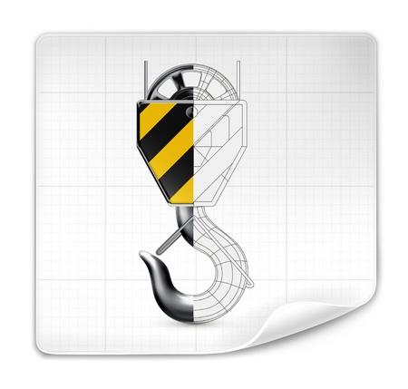 drafting: Lifting hook drawing Illustration
