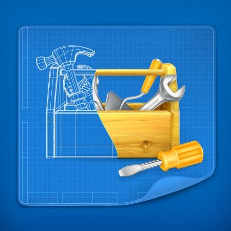 tool kit: Tool box blue print Illustration