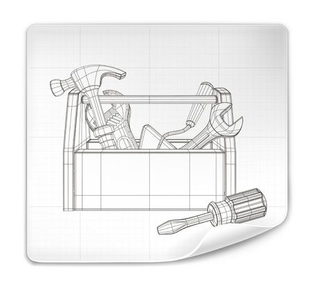 hardware icon: Tool box drawing Illustration