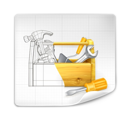 hardware tools: Tool box drawing Illustration