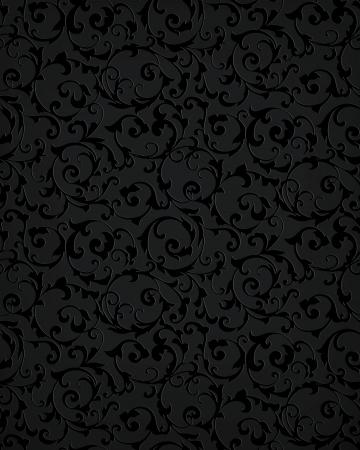 black damask: Black seamless pattern