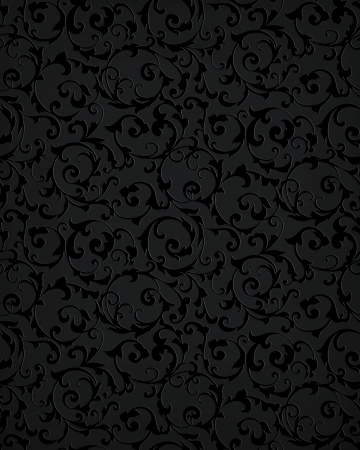 seamless damask: Patr�n transparente negro