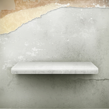 Empty shelf, vintage background Vector