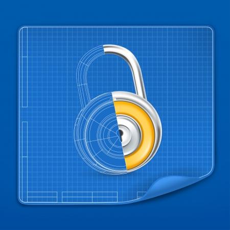 iron defense: Lock drawing blueprint Illustration