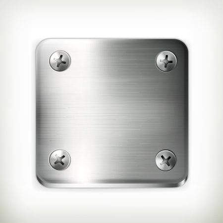 nameplate: Metal plate with screws