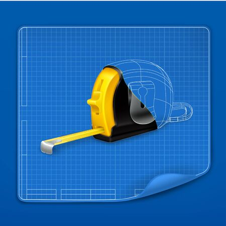drafting tools: Tape measure drawing blueprint