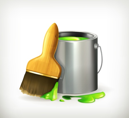 paint tin: Brush and Paint Illustration