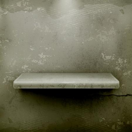 concrete background: Empty shelf, vintage background Illustration