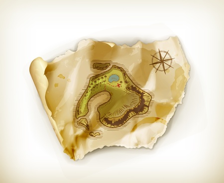 Old map, treasure island Vector