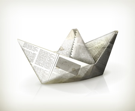 3d sail boat: Paper boat Illustration