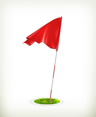 golf field: Red golf flag Illustration
