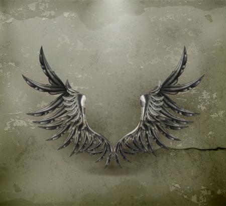 angel 3d: Black wings, old-style