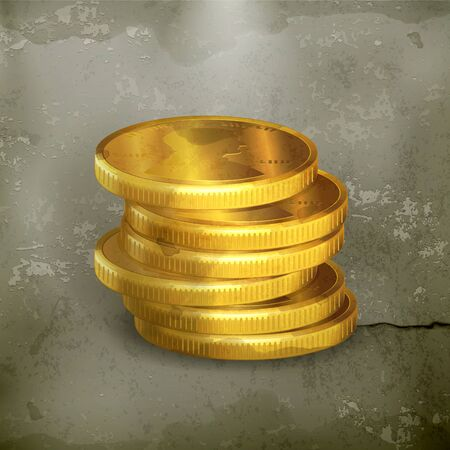 Stacks of gold coins old-style Vector