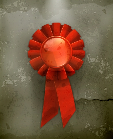 award trophy: First place red ribbon old-style Illustration
