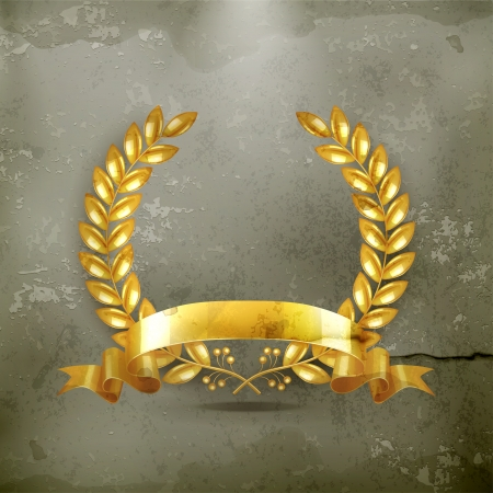 laurel wreath: Gold Wreath old-style Illustration