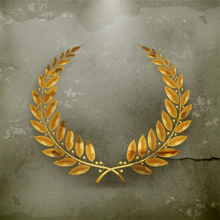 laurel leaf: Gold Laurel Wreath, old-style Illustration