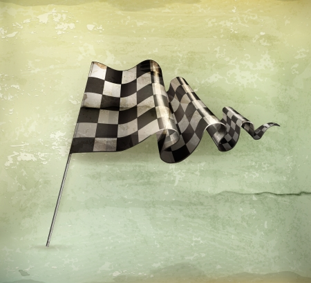 Checkered Flag, old-style Stock Vector - 14968479