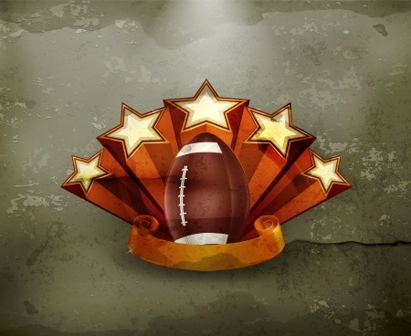 football trophy: Football Emblem, old-style Illustration