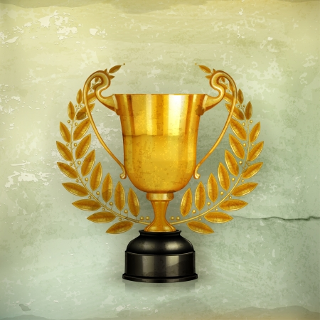 award winning: Golden trophy, old-style Illustration