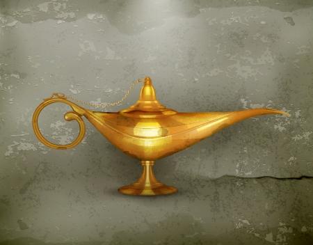 genio de la lampara: Lámpara de aceite viejo estilo Vectores