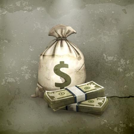 stack of cash: Saco y dinero, estilo antiguo Vectores