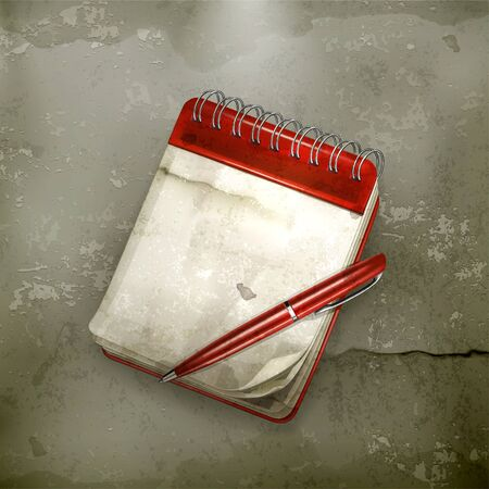 personal organizer: Spiral notebook with pen, old-style