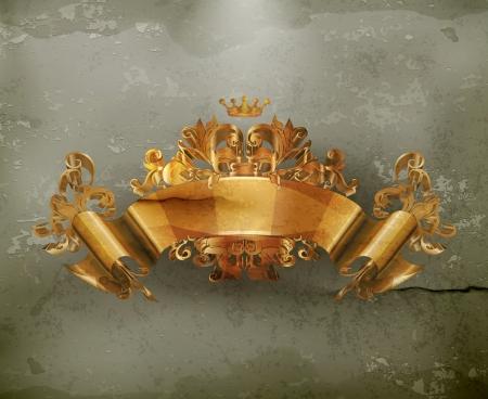ruban or: Vintage embl�me du Ruban d'or, � l'ancienne