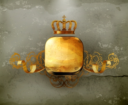 Vintage Frame gold crown, old-style Stock Vector - 15013039