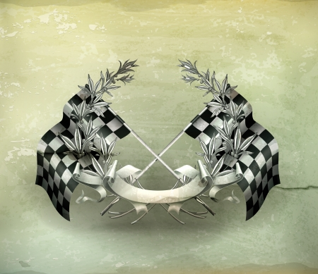 finishing checkered flag: Wreath and Racing flags, old-style