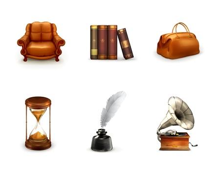 reloj antiguo: Retro, icono conjunto