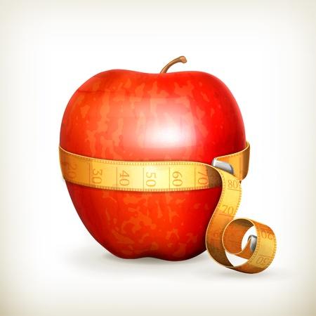 measurement tape: Tape measurement and apple Illustration