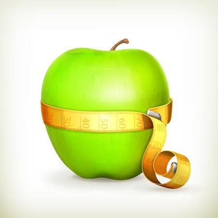measurement tape: Tape measurement and green apple
