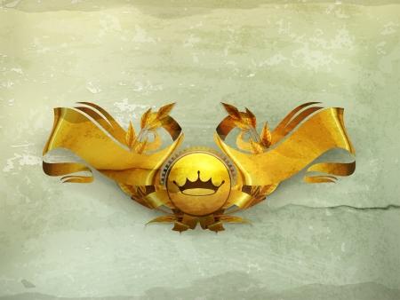 victory symbol: Design Element, Gold Emblem old-style