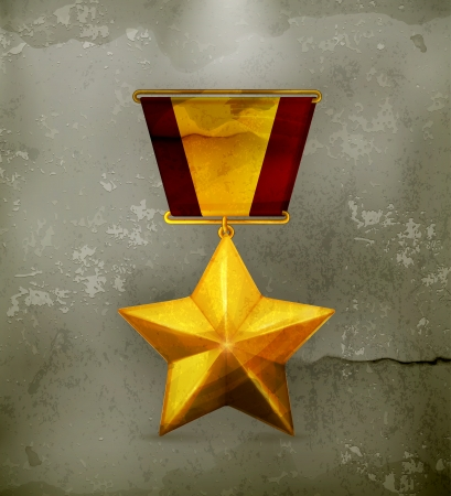 gouden ster: Gouden ster, oude stijl Stock Illustratie