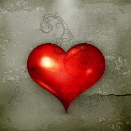 kalp: Kırmızı Kalp, eski tarz Çizim