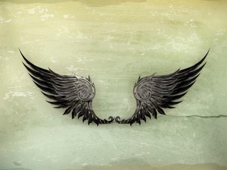 clip art wings: Wings Black, old-style