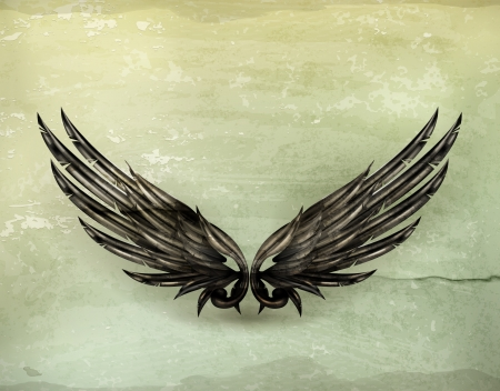 mythical: Wings black old-style