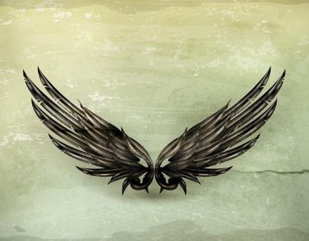 alas de angel: Wings negro de estilo antiguo Vectores