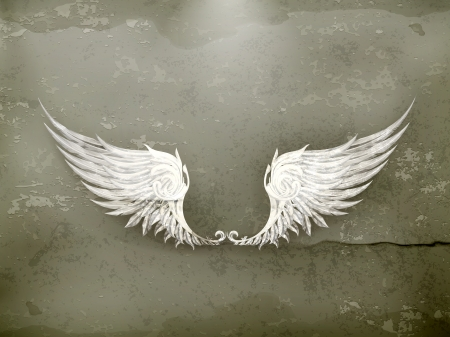 clip art wings: Wings white, old-style Illustration
