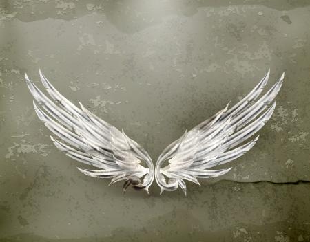 alas de angel: Alas blancas de estilo antiguo Vectores