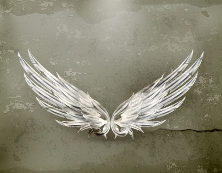gothic angel: Wings white old-style