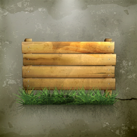 fence post: Wooden board, old-style Illustration