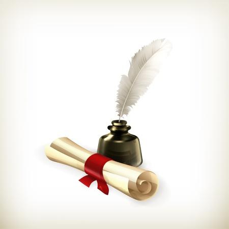 Antiguo pergamino y la pluma