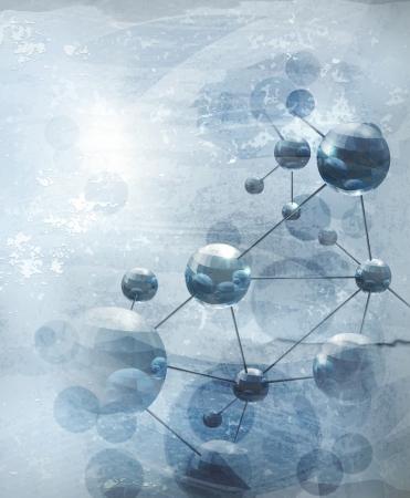 Arrière-plan avec des molécules bleu, l'ancienne