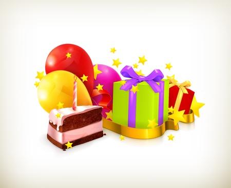 trozo de pastel: Cumpleaños, ilustración