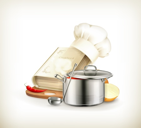 soup pot: Cooking, illustration Illustration
