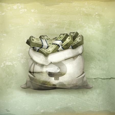 stack of cash: Bolsa de dinero, al viejo estilo Vectores