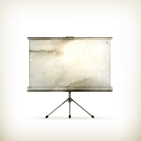 projection screen: Pantalla de proyecci�n en blanco, de estilo antiguo Vectores
