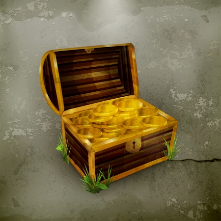 gold treasure: Chest, old-style
