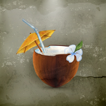 tropical drink: Coconut Cocktail, old-style Illustration